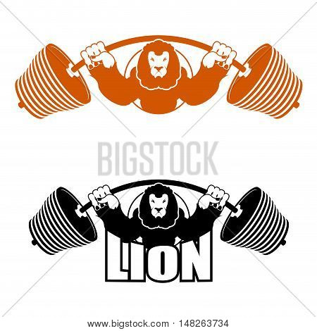 Angry Leo Strong Athlete. Barbell And Aggressive Big Beast. Lion Gym Logo. Evil Wild Animal Bodybuil