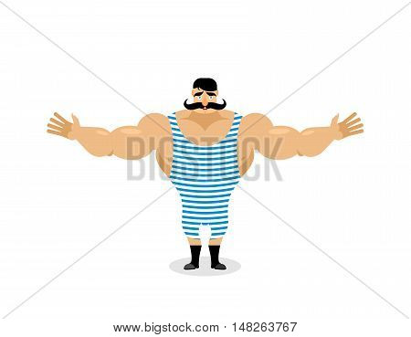Happy Retro Sportsman Spread His Arms In An Embrace. Good Natured Strong Circus Performer. Ancient B