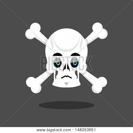 Sad Skull Emotion. Crossbones.  Melancholy Skeleton Head