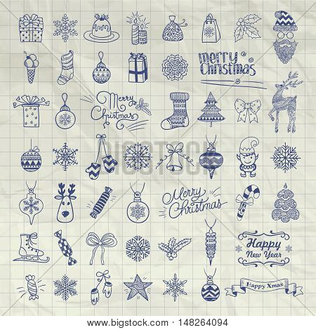 Set of Pen Drawing Artistic Christmas Doodle Icons. Xmas Vector Illustration. Outlined Sketched Decorative Design Elements, Cartoons on Crumpled Notebook Texture. New Year