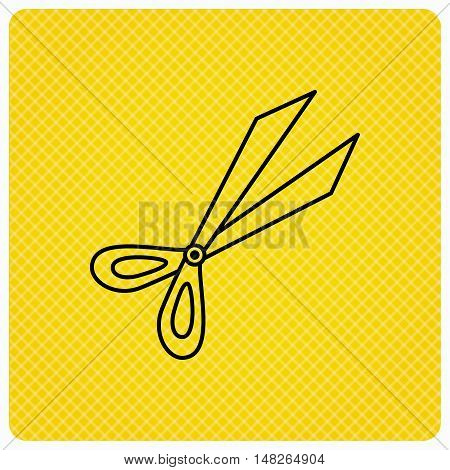 Gardening scissors icon. Secateurs tool sign symbol. Linear icon on orange background. Vector