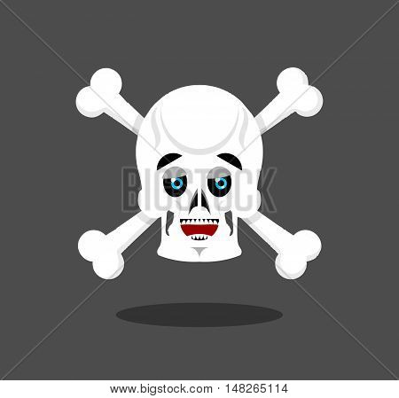 Happy Skull Emotion. Crossbones. Lucky Skeleton Head