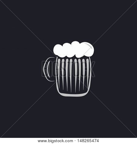 foamy beer Color vector icon on dark background