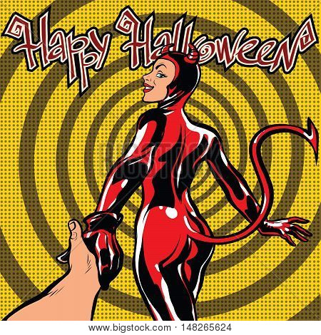 Happy Halloween devil girl follow me, pop art retro vector illustration. Carnival and celebration
