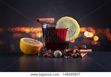 Mulled Wine On A Background Of Night City