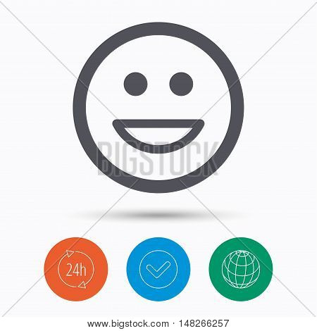 Happy smile icon. Smiley laugh emoticon symbol. Check tick, 24 hours service and internet globe. Linear icons on white background. Vector