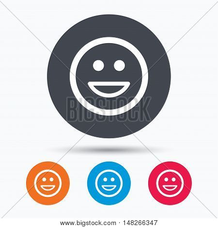 Happy smile icon. Smiley laugh emoticon symbol. Colored circle buttons with flat web icon. Vector