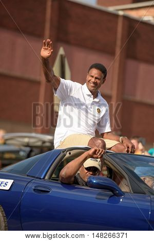 Canton OH - 6 August 2016: NFL Hall of Fame player Mike Haynes in a parade.