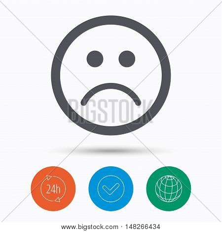 Sad smiley icon. Bad feedback symbol. Check tick, 24 hours service and internet globe. Linear icons on white background. Vector