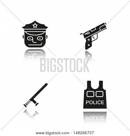 Police drop shadow black icons set. Isolated vector illustrations