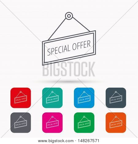 Special offer icon. Advertising banner tag sign. Linear icons in squares on white background. Flat web symbols. Vector