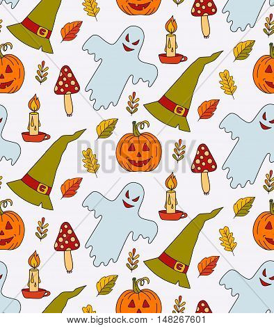 Halloween seamless colorful cute spooky seamless vector pattern