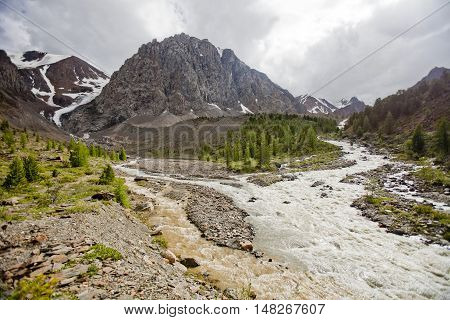 Aktru glacier River in the Altai Mountains Russian nature