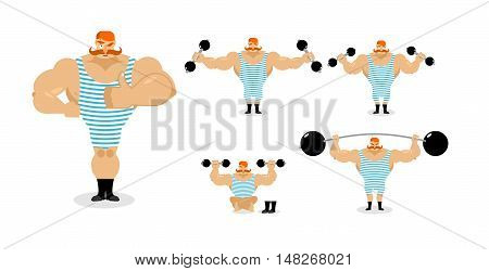 Retro Athlete Set Poses. Ancient Bodybuilder With Red Mustache Emotions. Sportsman In Striped Suit,