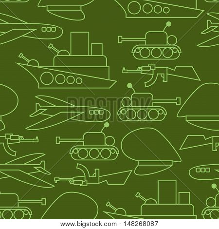 Military Seamless Pattern. Ship And Tank. Auto And Aircraft. Army Ornament. Soldier Green Background