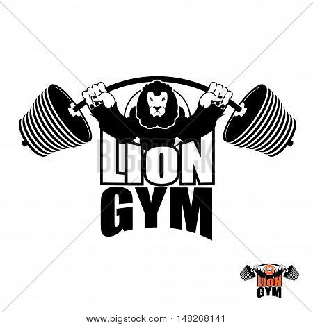 Lion Gym Logo. Angry Leo Strong Athlete. Barbell And Aggressive Big Beast. Evil Wild Animal Bodybuil
