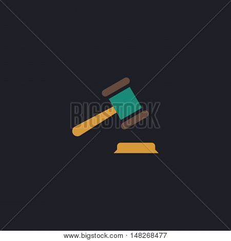 Judge gavel Color vector icon on dark background