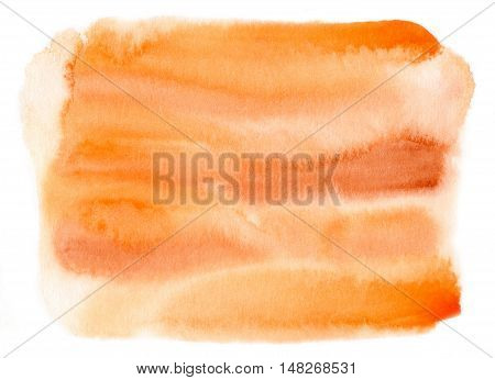 Abstract hand painted orange colour watercolor background