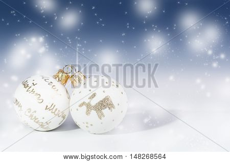 Christmas background, decoration. Christmas balls on a white background. Soft focus. Sparkles and bubbles. Abstract background. Modern.