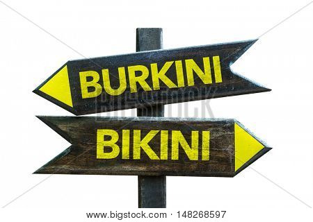 Burkini vs Bikini concept