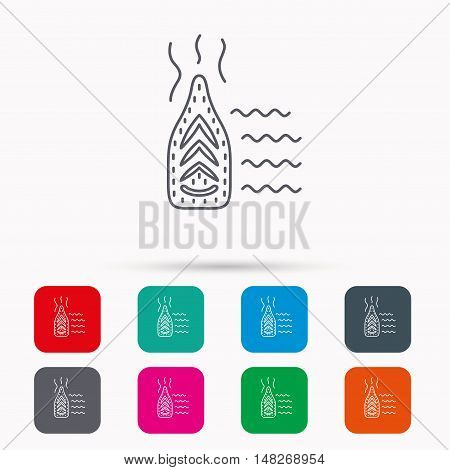 Steam ironing icon. Iron housework tool sign. Linear icons in squares on white background. Flat web symbols. Vector