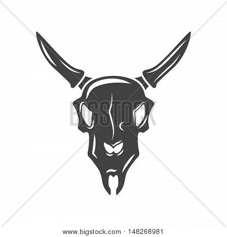 Bulls scull. Black icon logo element vector illustration isolated on white background