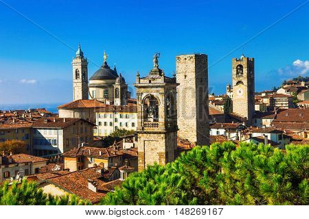 Towers of Bergamo - beautiful medieval town in noth of Italy