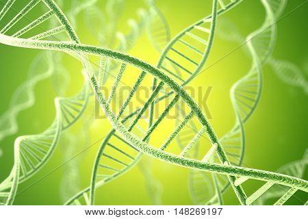 Concetp digital illustration DNA structure in green. 3d rendering.