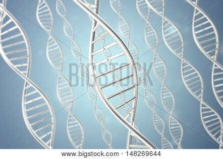 Synthetic, artificial DNA molecule on blue, the concept of artificial intelligence. 3d rendering.