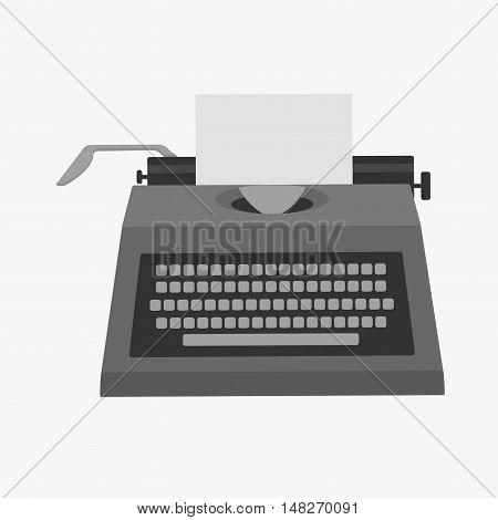 Flat design style vector illustration of a manual vintage typewriter. Isolated on white background