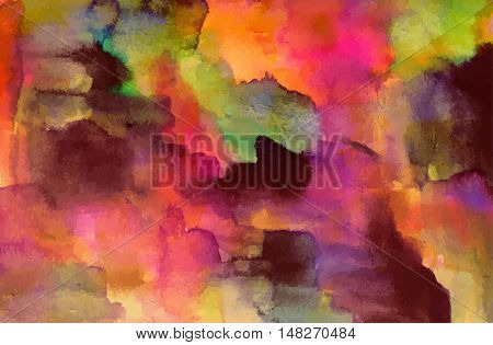 Vector artistic watercolor background texture with pink, purple, and other brushstrokes. Abstract paint stain with copyspace