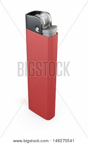 Red Cigarette Lighter Isolated On White Background. 3D Rendering