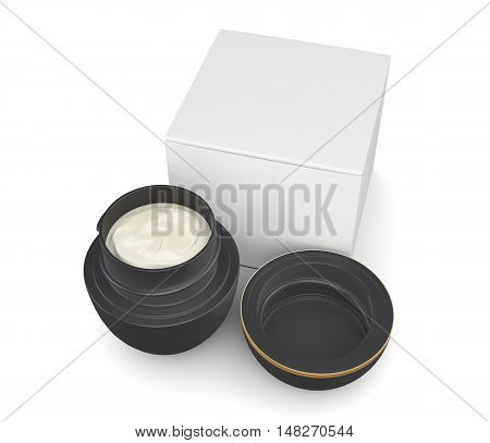 Jar Of Cream On A White Background. 3D Rendering