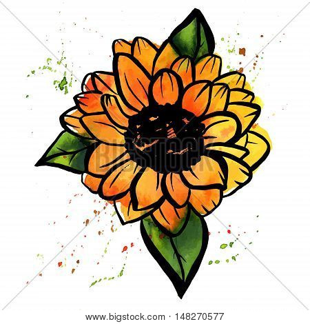 A freehand vector and watercolor drawing of a yellow sunflower with green leaves, with splashes of paint