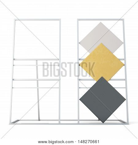 Tile Samples On The Stand Isolated On A White Background. 3D Rendering