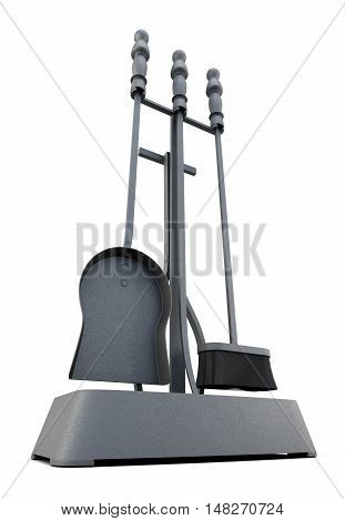 Fireplace Tools Isolated On A White Background. 3D Rendering