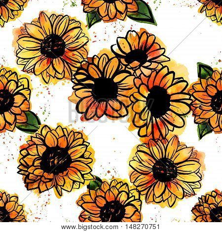A seamless pattern of freehand vector and watercolor sunflowers with splashes of paint, on white background