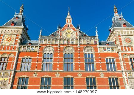 Beautiful facade of Central Station in Amsterdam. Netherlands.