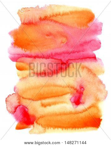 Abstract hand painted orange red watercolor background