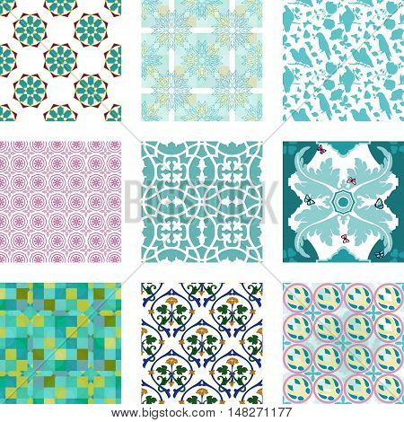 A set of vector seamless patterns with geometrical elements, natural shapes of birds and flowers, watercolor butterflies and abstract ornaments