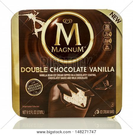 Winneconne WI - 27 August 2016: Box of Magnum double chocolate vanilla ice cream bars on an isolated background.