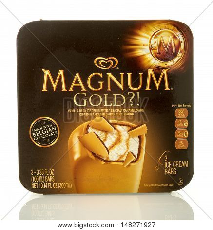 Winneconne WI - 27 August 2016: Box of Magnum gold ice cream bars on an isolated background.