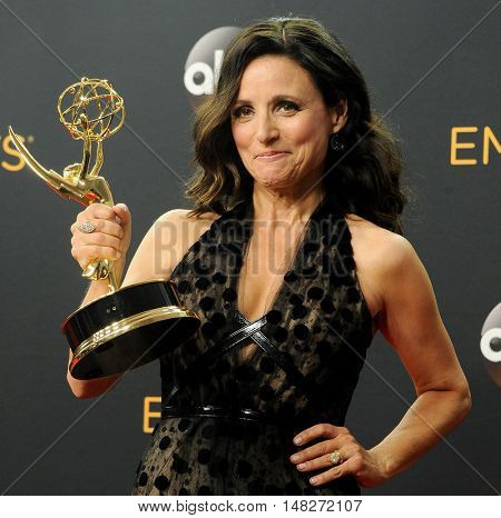 Julia Louis-Dreyfus at the 68th Annual Primetime Emmy Awards - Press Room held at the Microsoft Theater in Los Angeles, USA on September 18, 2016.