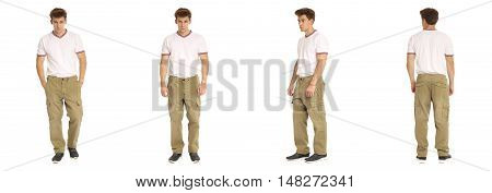Handsome Young Man In White Shirt Standing Isolated
