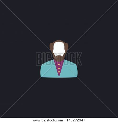 Bald Man Color vector icon on dark background