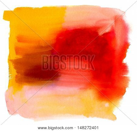 An abstract artistic bright yellow and red watercolor background texture with brush strokes