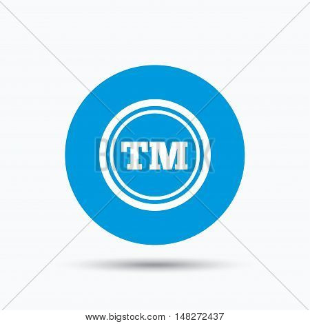 Registered TM trademark icon. Intellectual work protection symbol. Blue circle button with flat web icon. Vector
