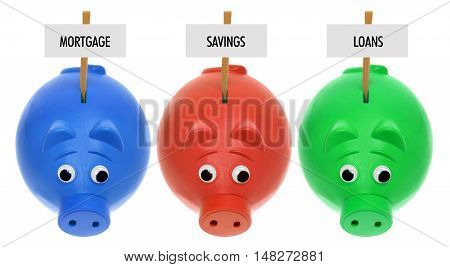 Piggy Banks with Signs on White Background