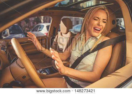 Girl Driving The Car