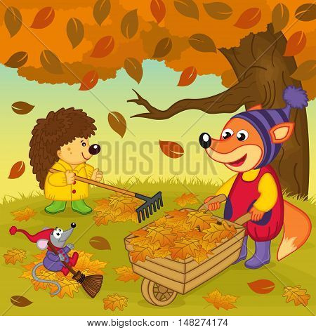 animals cleans  leaves in  forest - vector illustration, eps